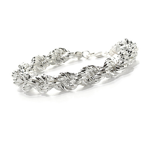 132-242 - SempreSilver® Polished & Twisted Rope Chain Bracelet