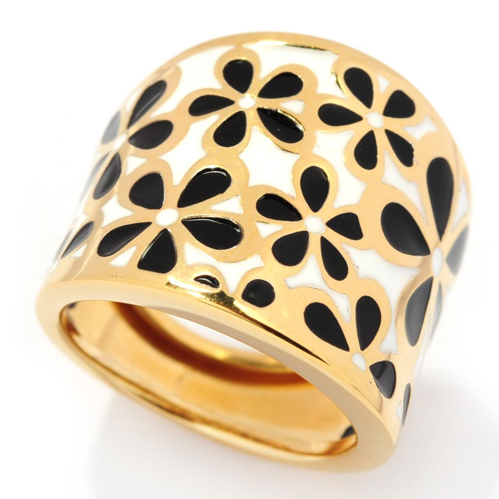 132-253 - Portofino Gold Embraced™ Black & White Enamel Flower Wide Band Ring
