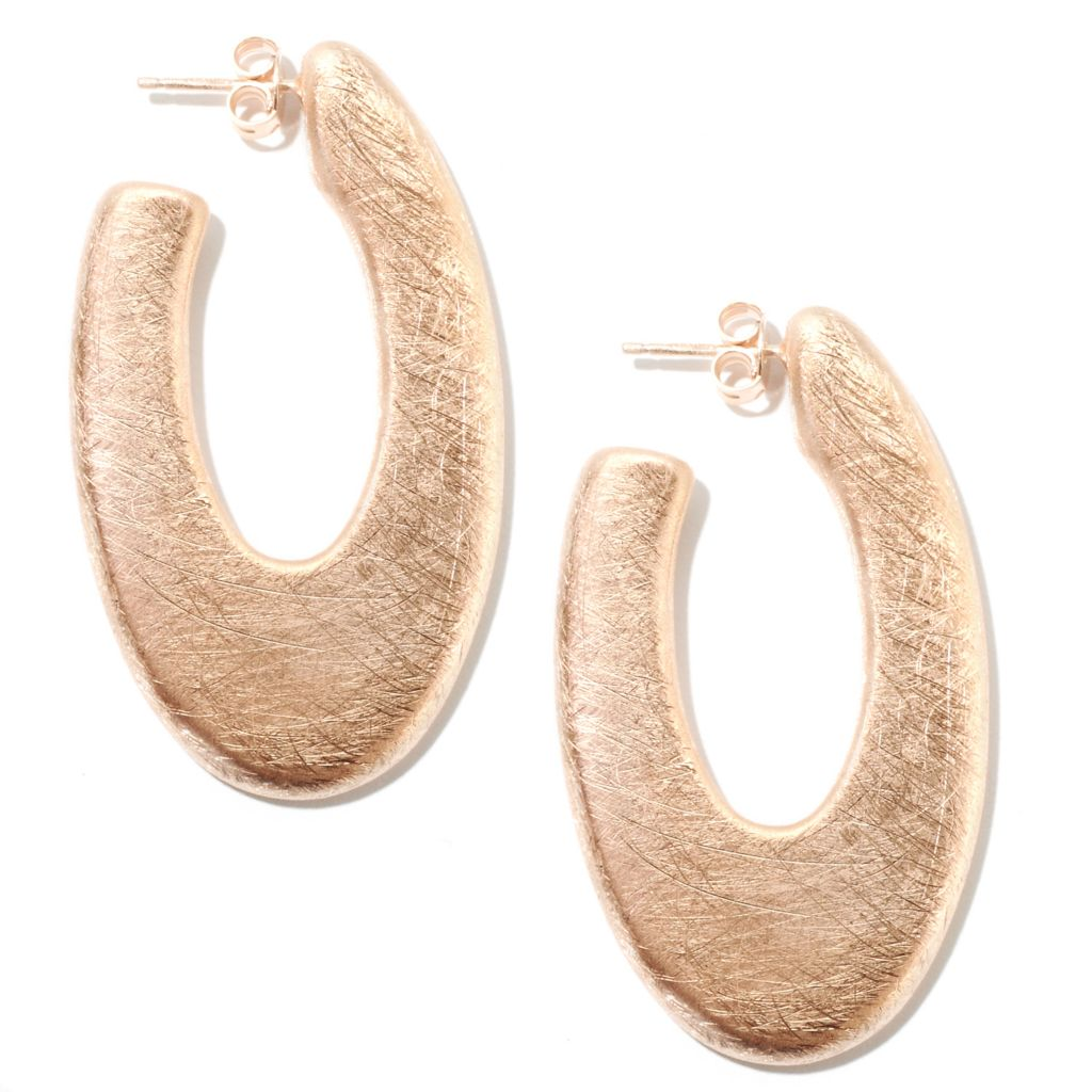 "132-255 - Portofino 18K Gold Embraced™ 2"" Brushed J-Hoop Earrings"