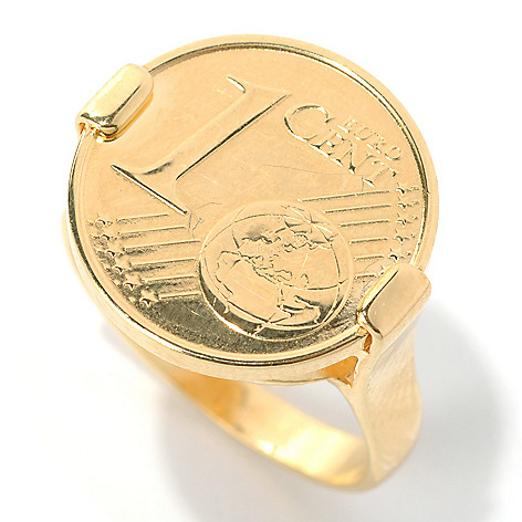 132-256 - Portofino 18K Gold Embraced™ Polished Euro Coin Ring