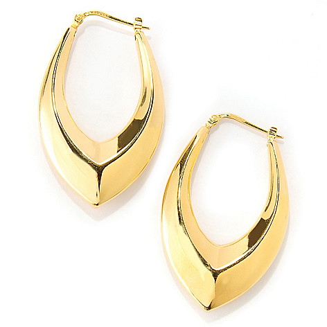 132-257 - Portofino 18K Gold Embraced™ 1.75'' Polished Chevron Hoop Earrings