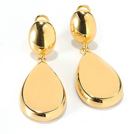 132-258 - Portofino 18K Gold Embraced™ 2'' Pear Drop Earrings w/ Omega Backs