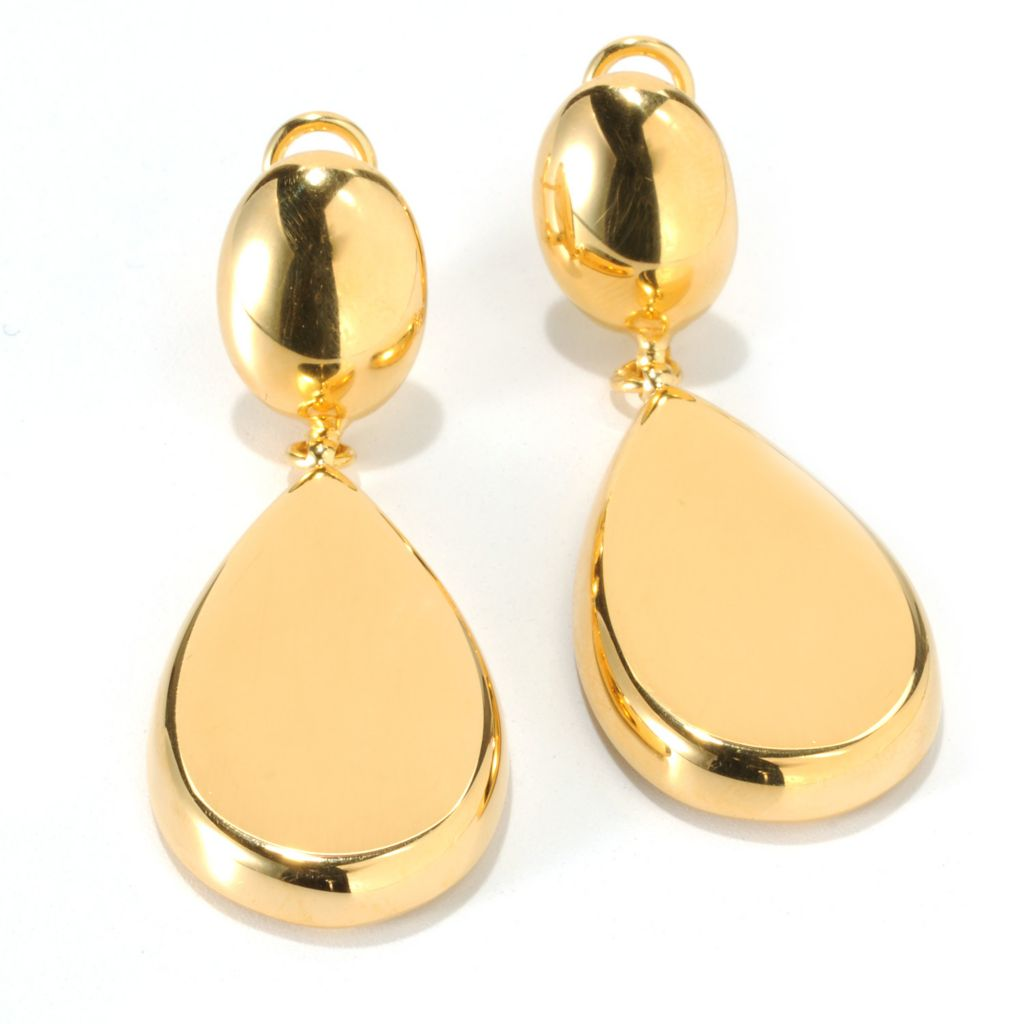 "132-258 - Portofino 18K Gold Embraced™ 2"" Pear Drop Earrings w/ Omega Backs"