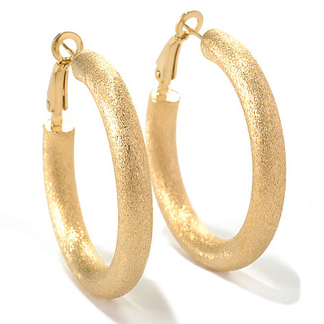 132-260 - Portofino Gold Embraced™ 1.5'' Double Textured Hoop Earrings