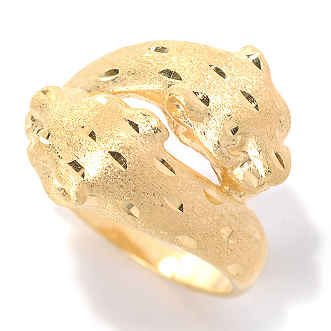 132-261 - Portofino 18K Gold Embraced™ Satin Finished Spotted Double Panther Ring