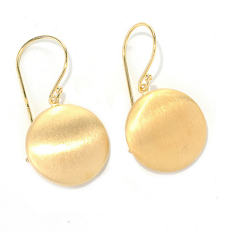 132-264 - Portofino Gold Embraced™ 1.5'' Round Satin Finished Drop Earrings