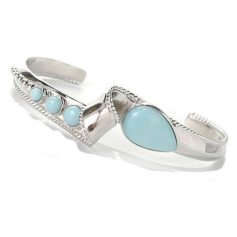 132-299 - Gem Insider Sterling Silver 7'' Teardrop & Round Amazonite Twisted Cuff Bracelet