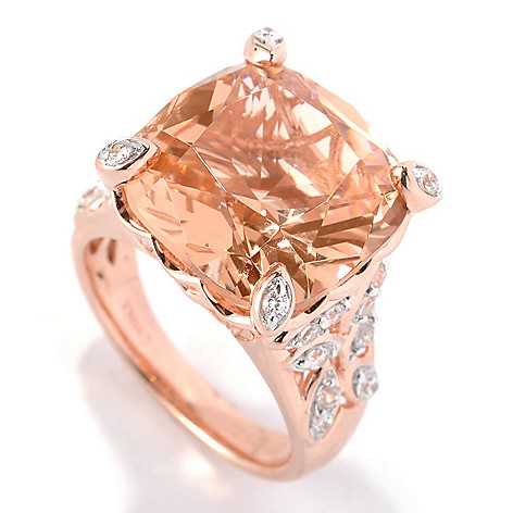 132-315 - Brilliante® 18K Rose Gold Embraced™ Cushion Cut Simulated Morganite Ring