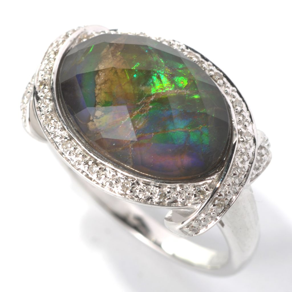 132-317 - Gem Insider Sterling Silver 14 x 10mm Crystal Quartz, Ammolite & Diamond Frame Ring