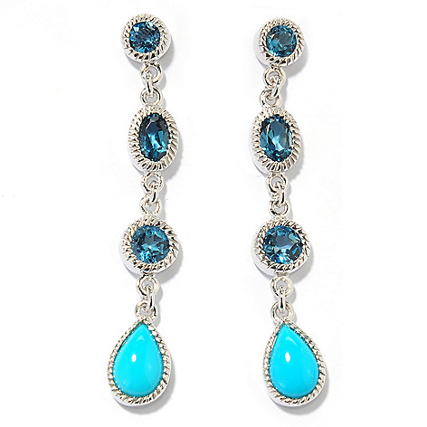 132-318 - Gem Insider™ Sterling Silver 1.75'' Sleeping Beauty Turquoise & Gemstone Earrings