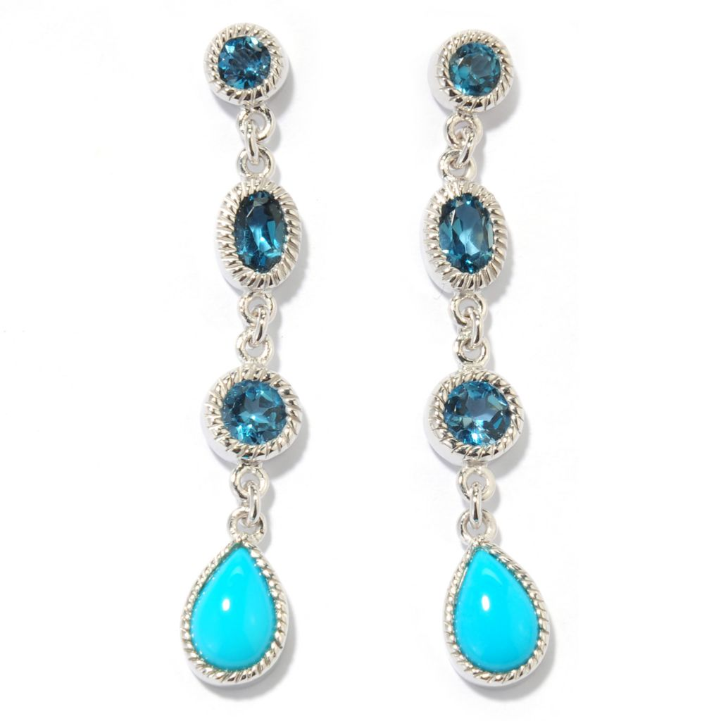 "132-318 - Gem Insider Sterling Silver 1.75"" Sleeping Beauty Turquoise & Gemstone Earrings"