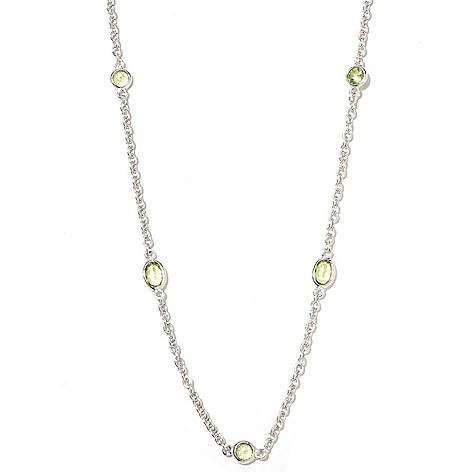 132-319 - Gem Insider Sterling Silver 36'' Round & Oval Cut Gemstone Station Necklace