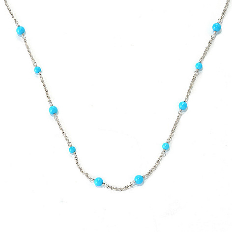 132-322 - Gem Insider Sterling Silver 18'' Sleeping Beauty Turquoise Station Necklace