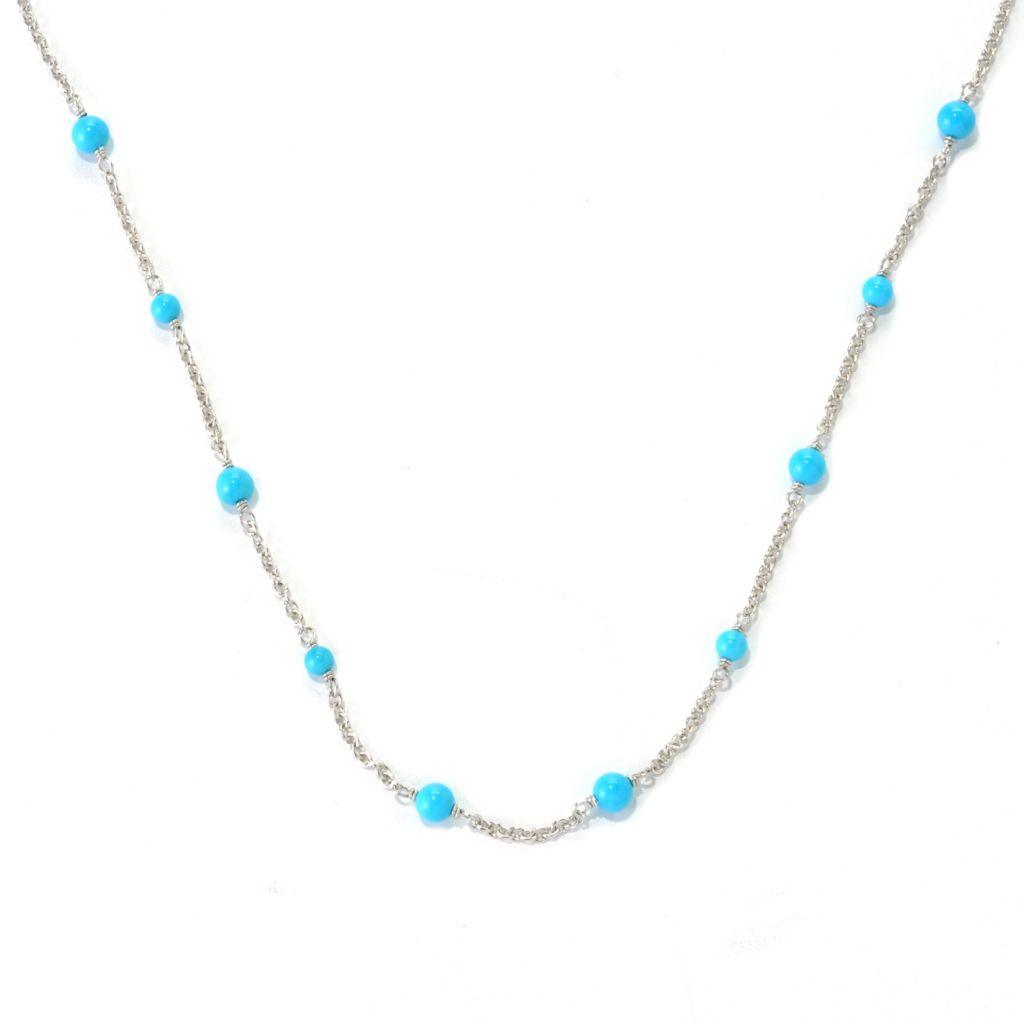 "132-322 - Gem Insider Sterling Silver 18"" Sleeping Beauty Turquoise Station Necklace"