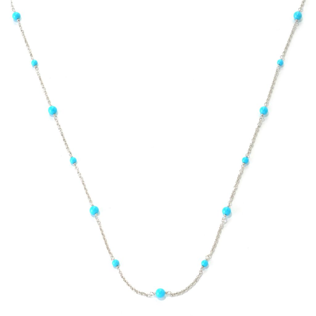 "132-323 - Gem Insider Sterling Silver 36"" Sleeping Beauty Turquoise Station Necklace"