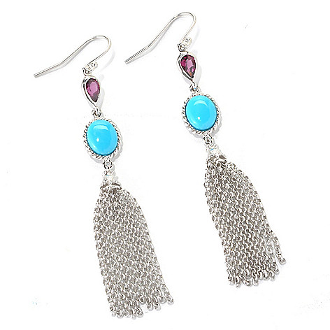 132-324 - Gem Insider Sterling Silver 2.75'' Sleeping Beauty Turquoise & Gemstone Earrings