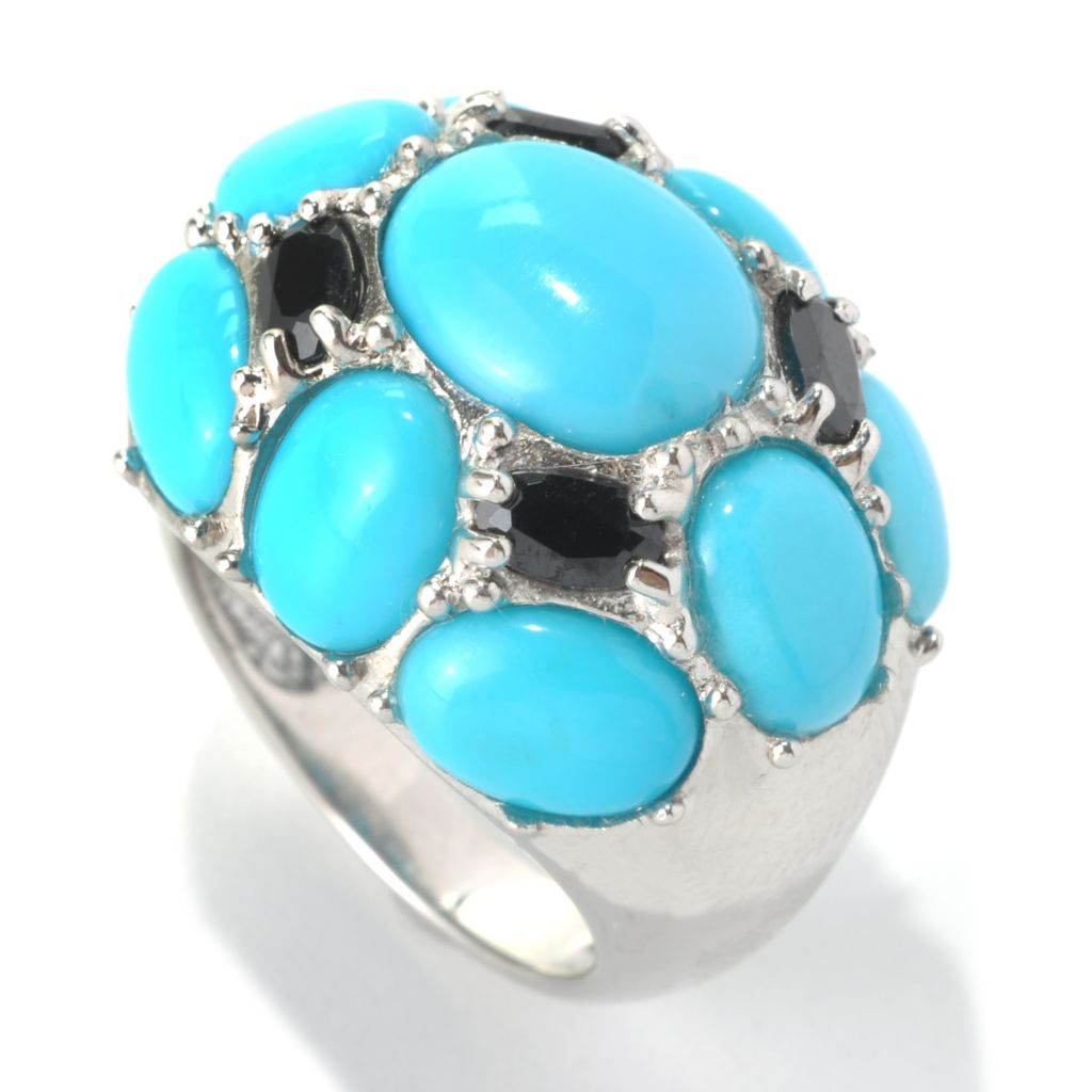 132-327 - Gem Insider Sterling Silver 11 x 9mm Sleeping Beauty Turquoise & Spinel Dome Ring