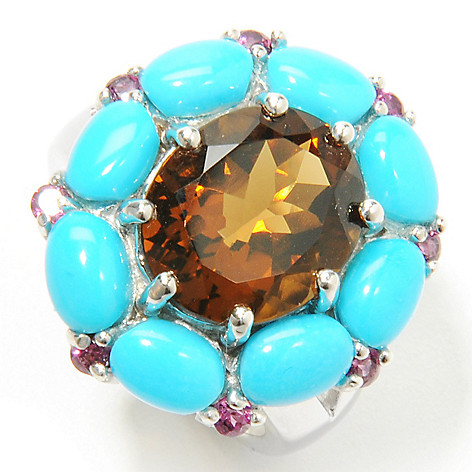 132-329 - Gem Insider Sterling Silver Multi Gemstone & Sleeping Beauty Turquoise Ring