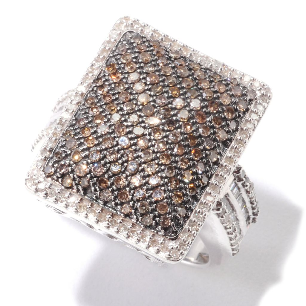 "132-336 - ""As Is"" Diamond Treasures Sterling Silver 1.00ctw White & Champagne Diamond Rectangle Ring"