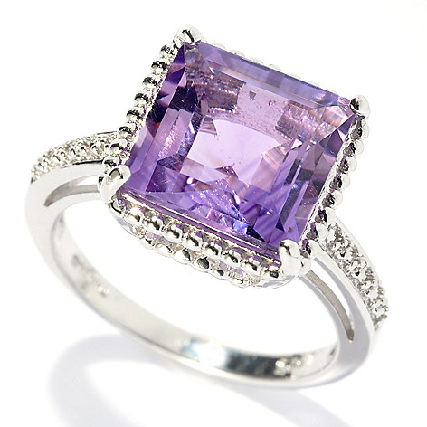 132-339 - Gem Treasures Sterling Silver 3.66ctw Square Amethyst Beaded Frame Ring