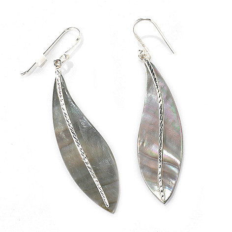 132-342 - Gem Insider Sterling Silver 2.5'' Feather Cut Mother-of-Pearl Drop Earrings
