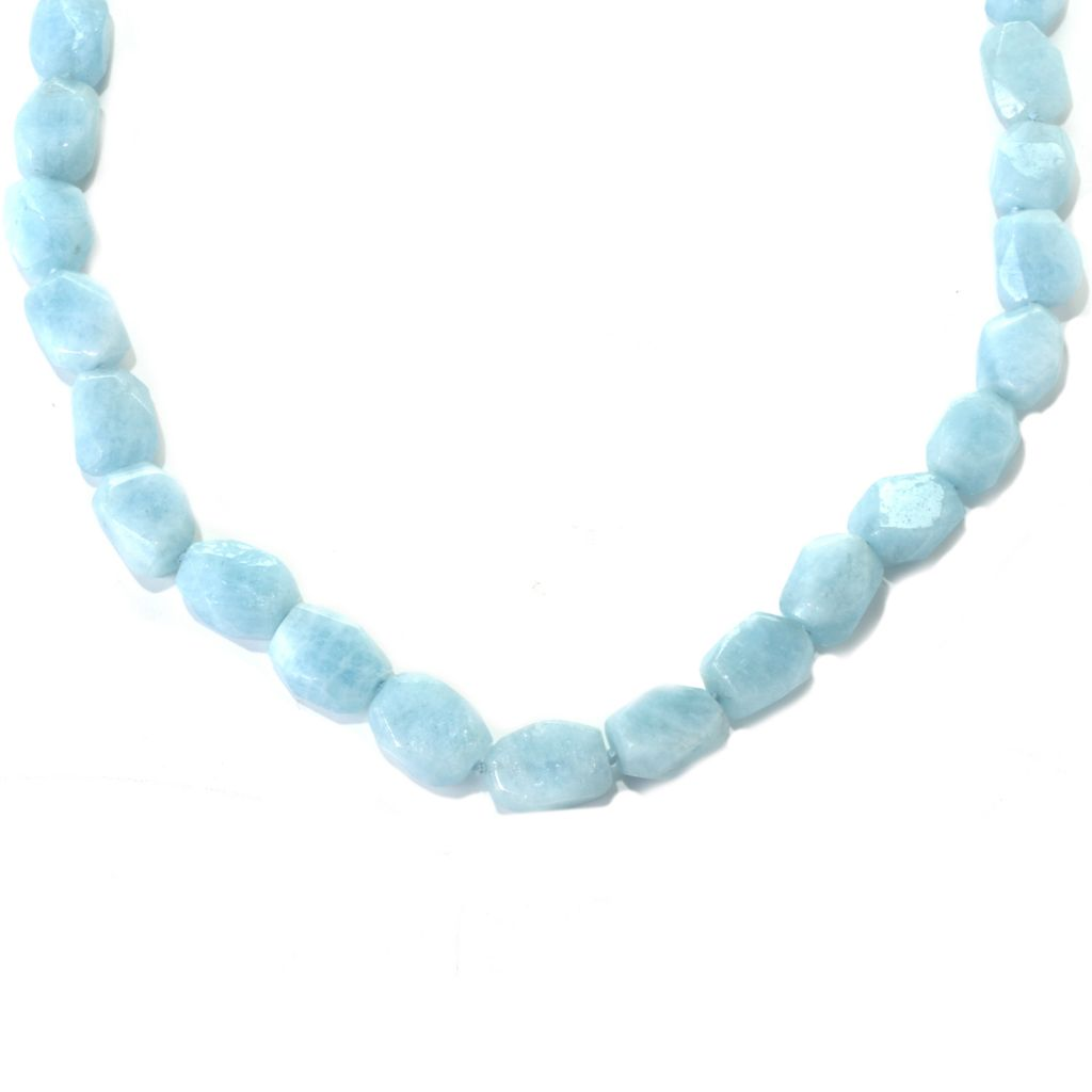 "132-364 - Gem Treasures Sterling Silver 32"" Freeform Aquamarine Bead Toggle Necklace"