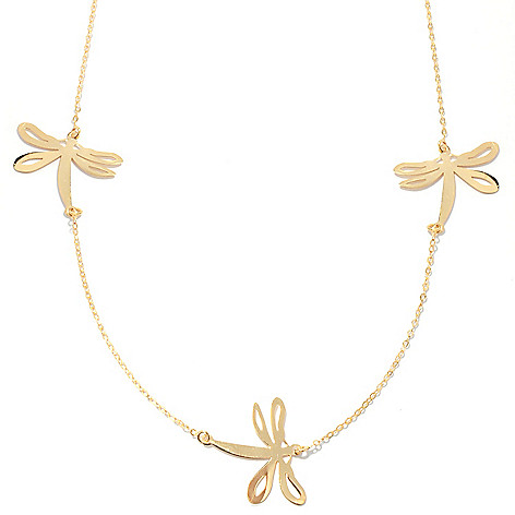 132-367 - Italian Designs with Stefano 14K Gold 18'' Dragonfly Station Necklace