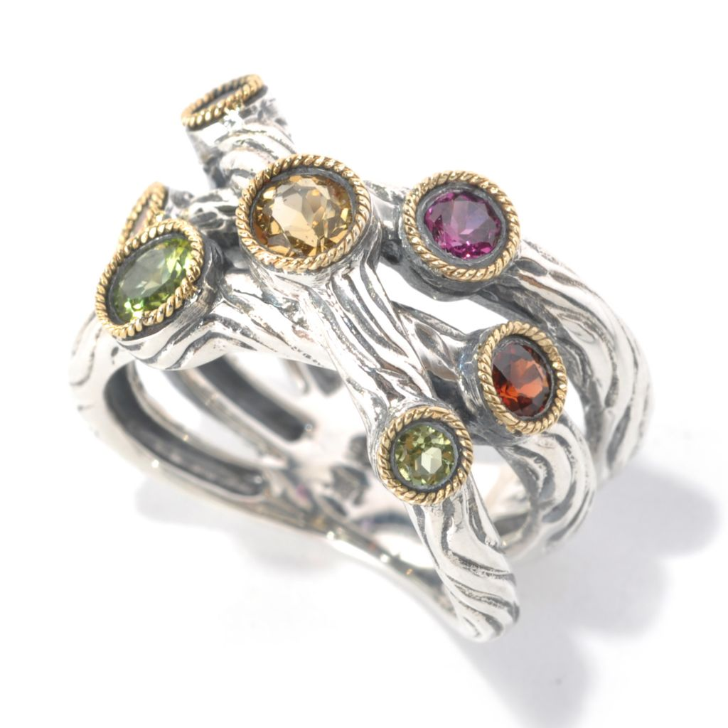 132-368 - Sterling Artistry by Effy Bezel Set Multi Gemstone Scattered Ring