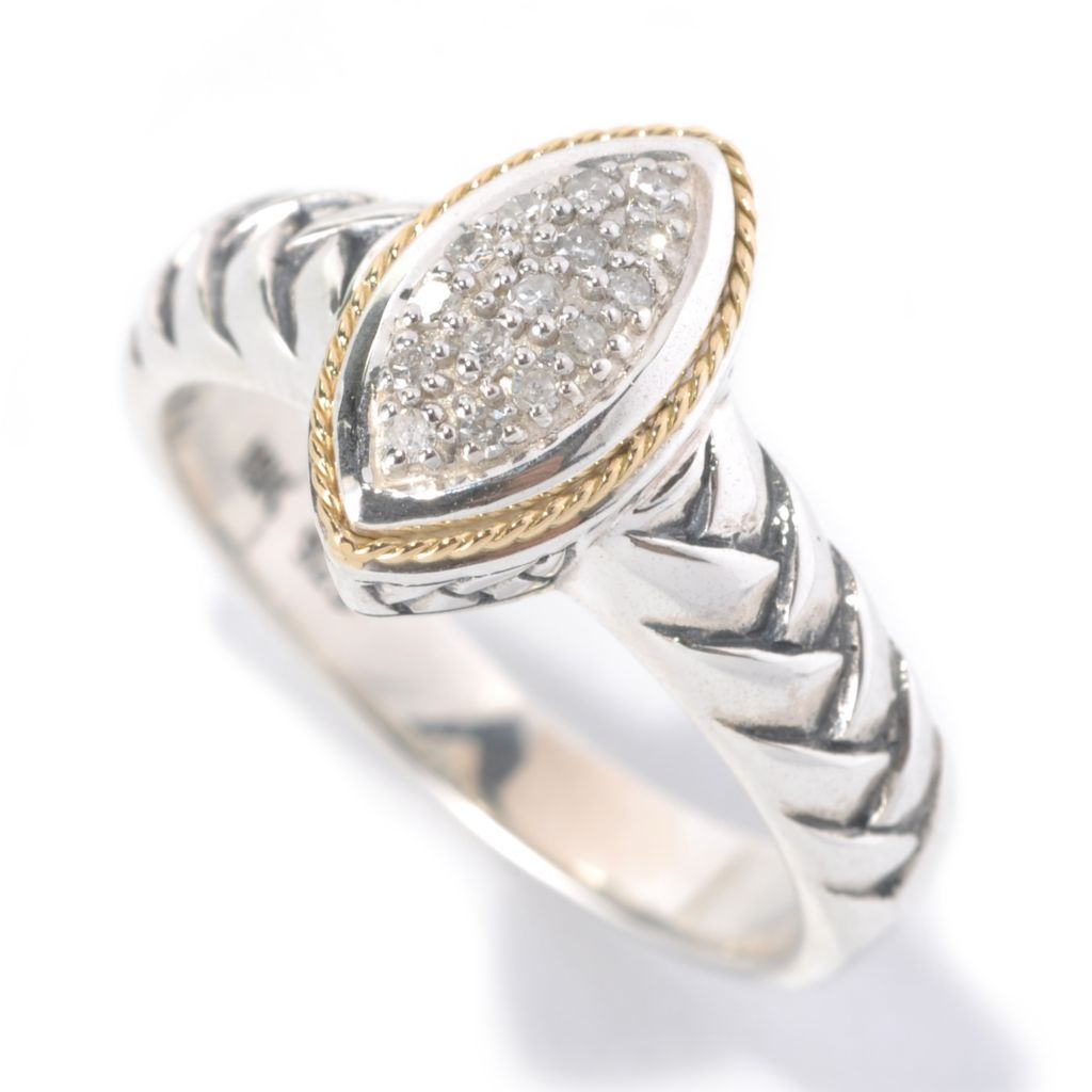 132-372 - Sterling Artistry by EFFY 0.07ctw Diamond Marquise Shaped Braided Band Ring