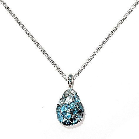 132-376 - Sterling Artistry by EFFY 6.36ctw Shades of Blue Topaz Teardrop Pendant w/ Chain