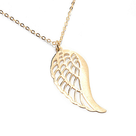 132-377 - Italian Designs with Stefano 14K Gold 20'' Angel Wing Necklace, 1.14 grams