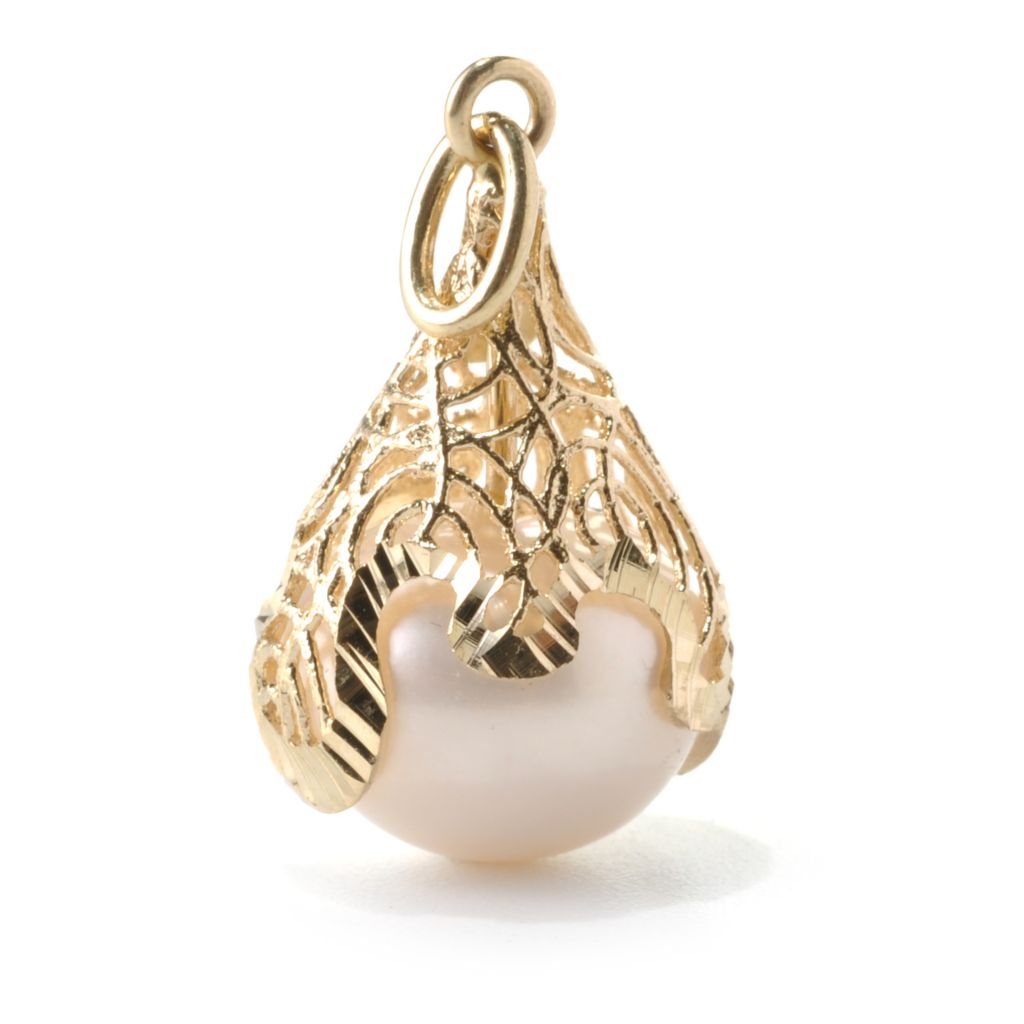 132-403 - Italian Designs with Stefano 14K Gold 12-12.5mm Cultured Pearl Drop Pendant