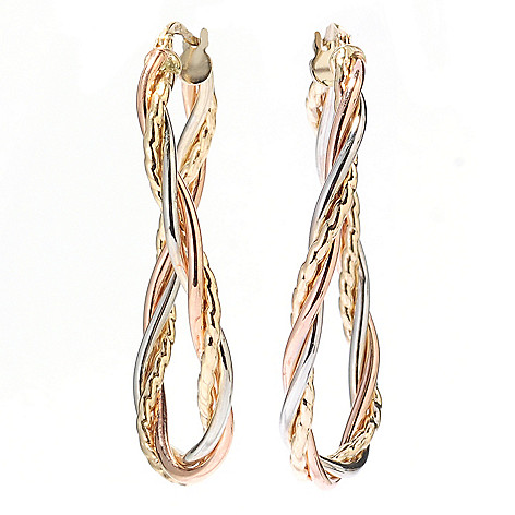 132-404 - Italian Designs with Stefano 14K Gold 1.75'' Twisted Oval Hoop Earrings