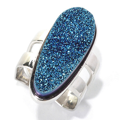 132-418 - Gem Insider Sterling Silver 26 x 11mm Blue Freeform Drusy Square Shank Ring