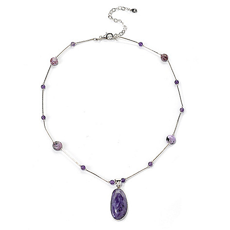 132-419 - Gem Insider Sterling Silver 18'' Charoite & Amethyst Bead Necklace