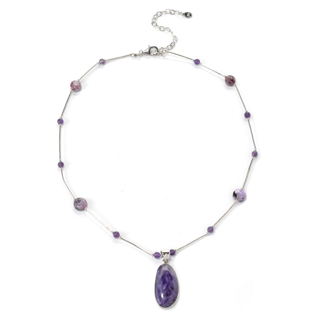 "132-419 - Gem Insider Sterling Silver 18"" Charoite & Amethyst Bead Necklace"