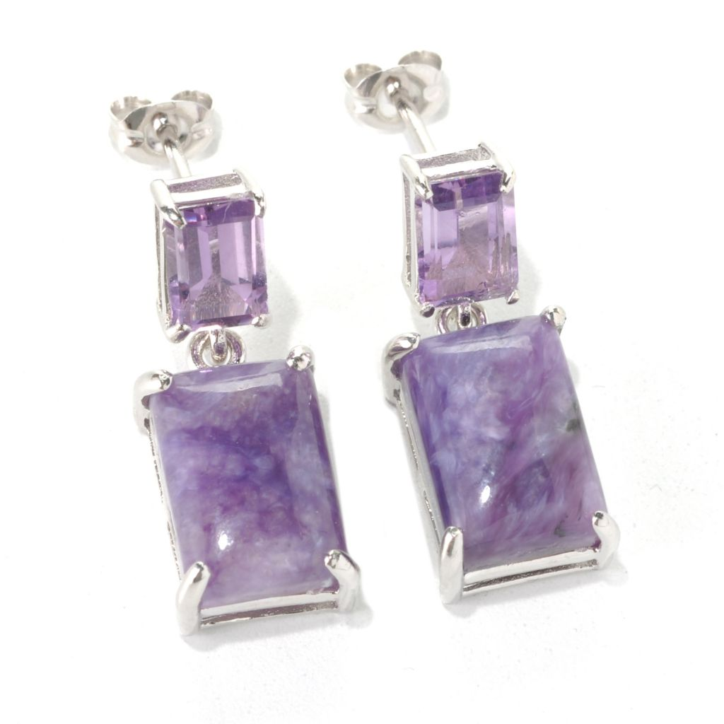 132-420 - Gem Insider Sterling Silver 12 x 8mm Charoite & Amethyst Double Drop Earrings