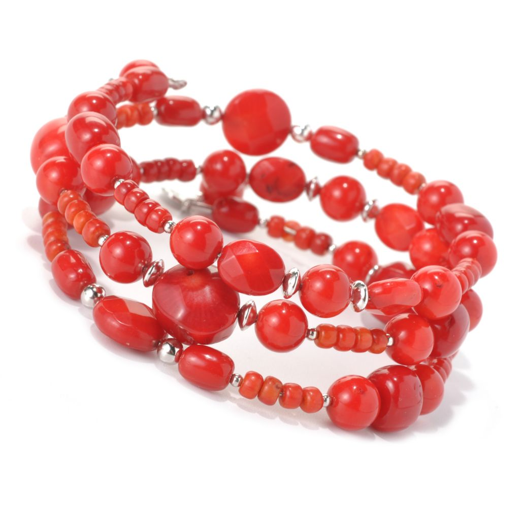 "132-425 - Gem Insider Sterling Silver 36"" Red Bamboo Coral Wrap-Around Bead Bracelet"
