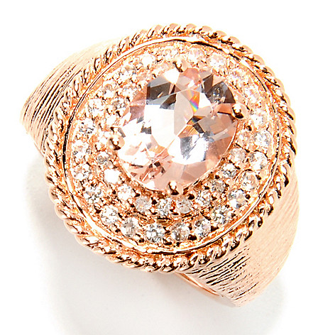 132-426 - NYC II 2.28ctw Oval Peach Morganite & White Zircon Textured Ring