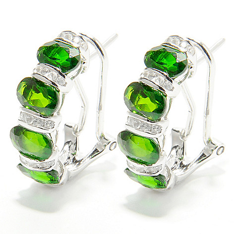 132-428 - NYC II 4.23ctw Chrome Diopside & White Zircon Earrings w/ Omega Backs