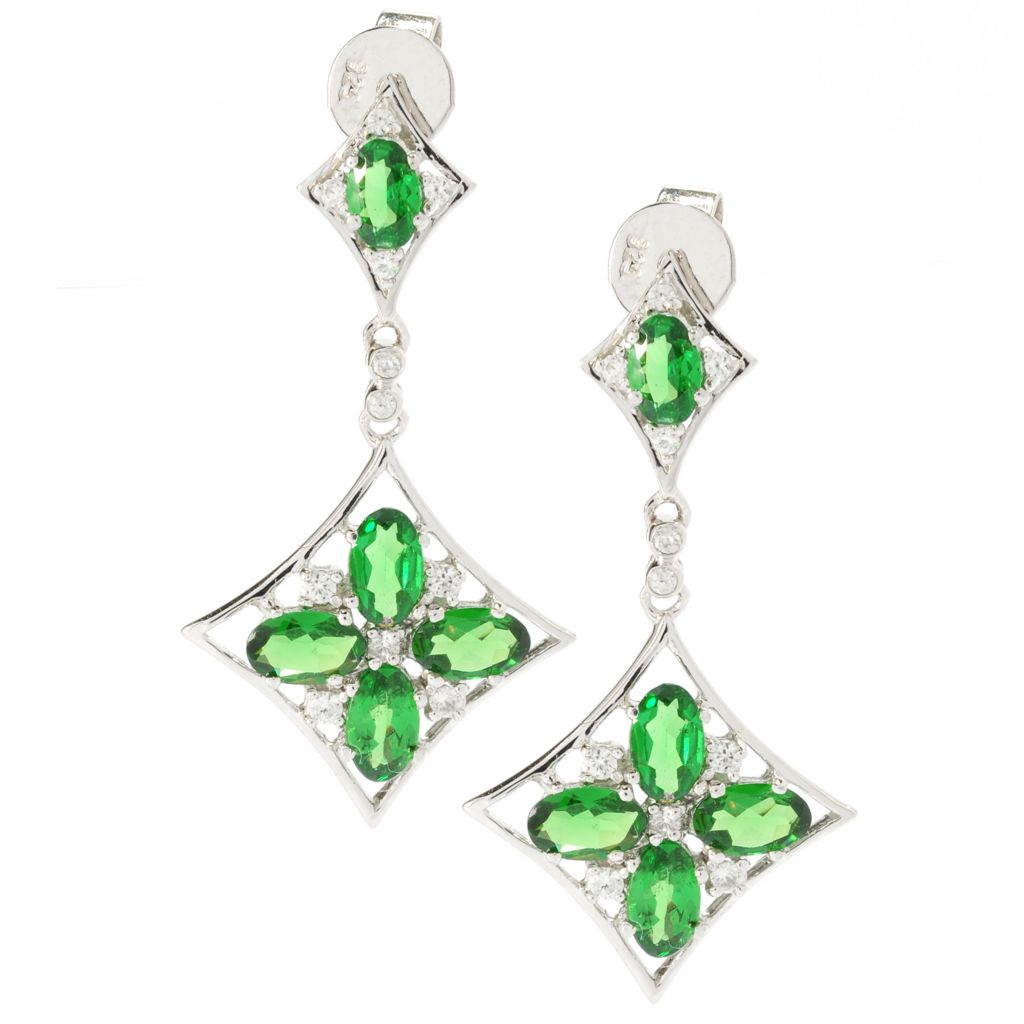 132-429 - NYC II 2.65ctw Tsavorite & White Zircon Diamond Shaped Drop Earrings