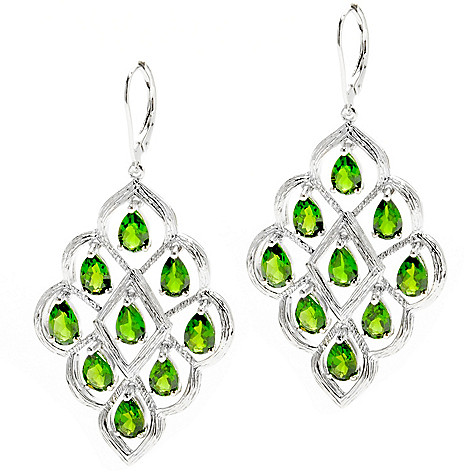 132-430 - NYC II 2'' 7.72ctw Chrome Diopside Marquise Shaped Dangle Earrings