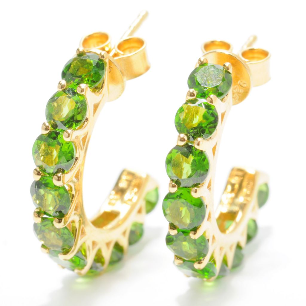 "132-432 - NYC II 1"" 5.00ctw Chrome Diopside 10-Stone C-Hoop Earrings"