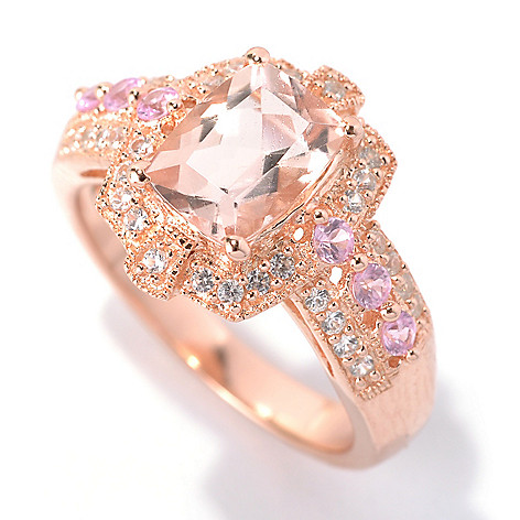 132-437 - NYC II 1.86ctw Cushion Cut Peach Morganite, Pink Sapphire & White Zircon Ring