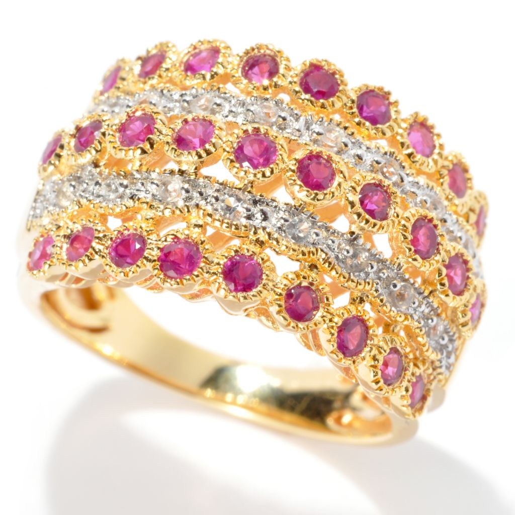132-442 - NYC II 1.00ctw Gemstone & White Zircon Five-Row Wide Band Ring