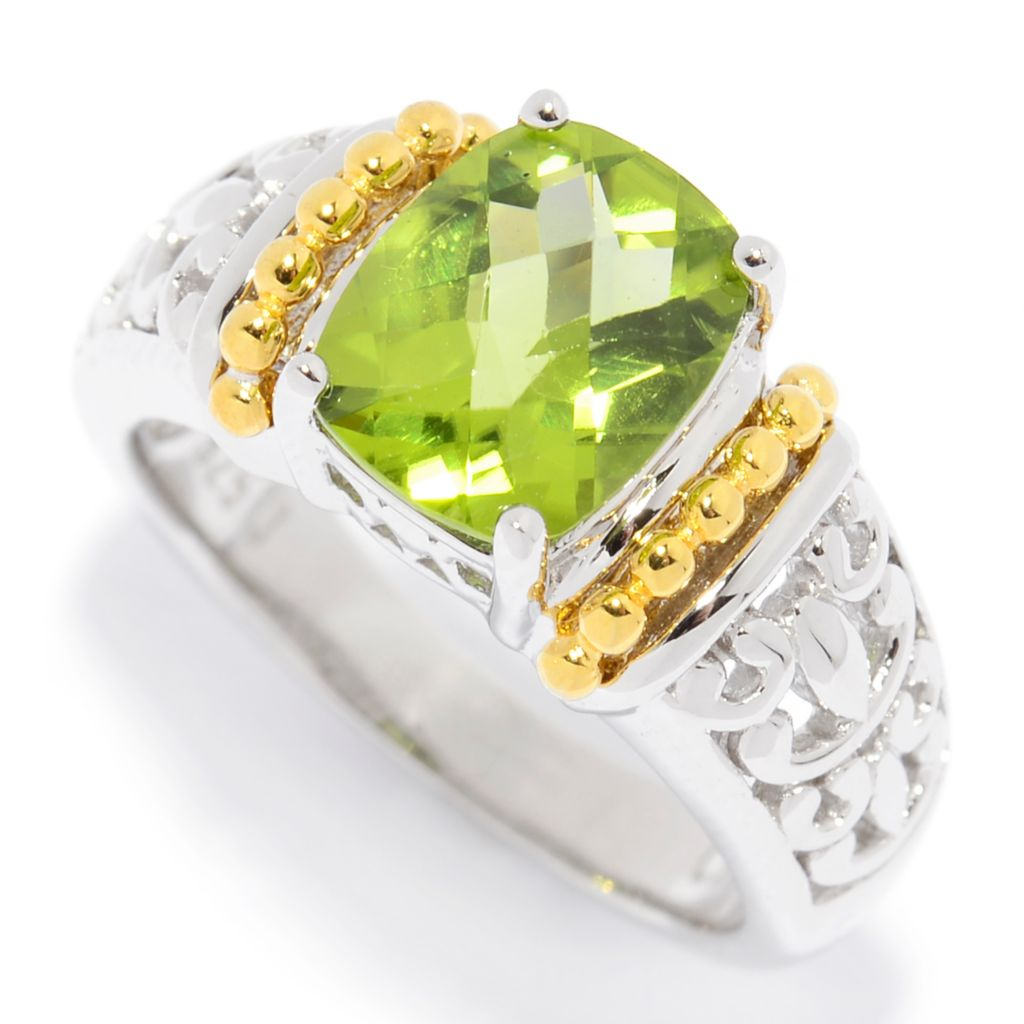 132-443 - Gem Insider Sterling Silver Cushion Cut Gemstone Scrollwork Ring