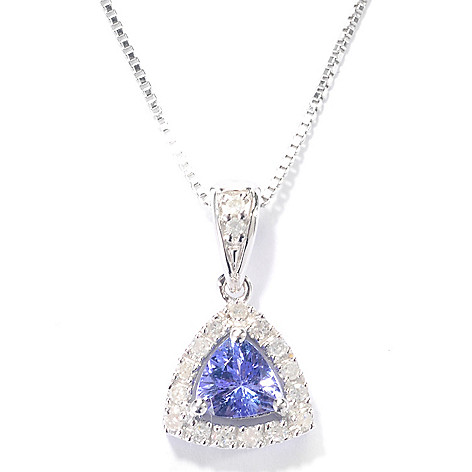 132-444 - Gem Insider Sterling Silver Trillion Tanzanite & Diamond Pendant w/ 18'' Chain