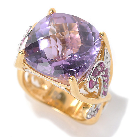 132-448 - Dallas Prince Two-tone 11.91ctw Cushion Brazilian Amethyst & Pink Sapphire Ring