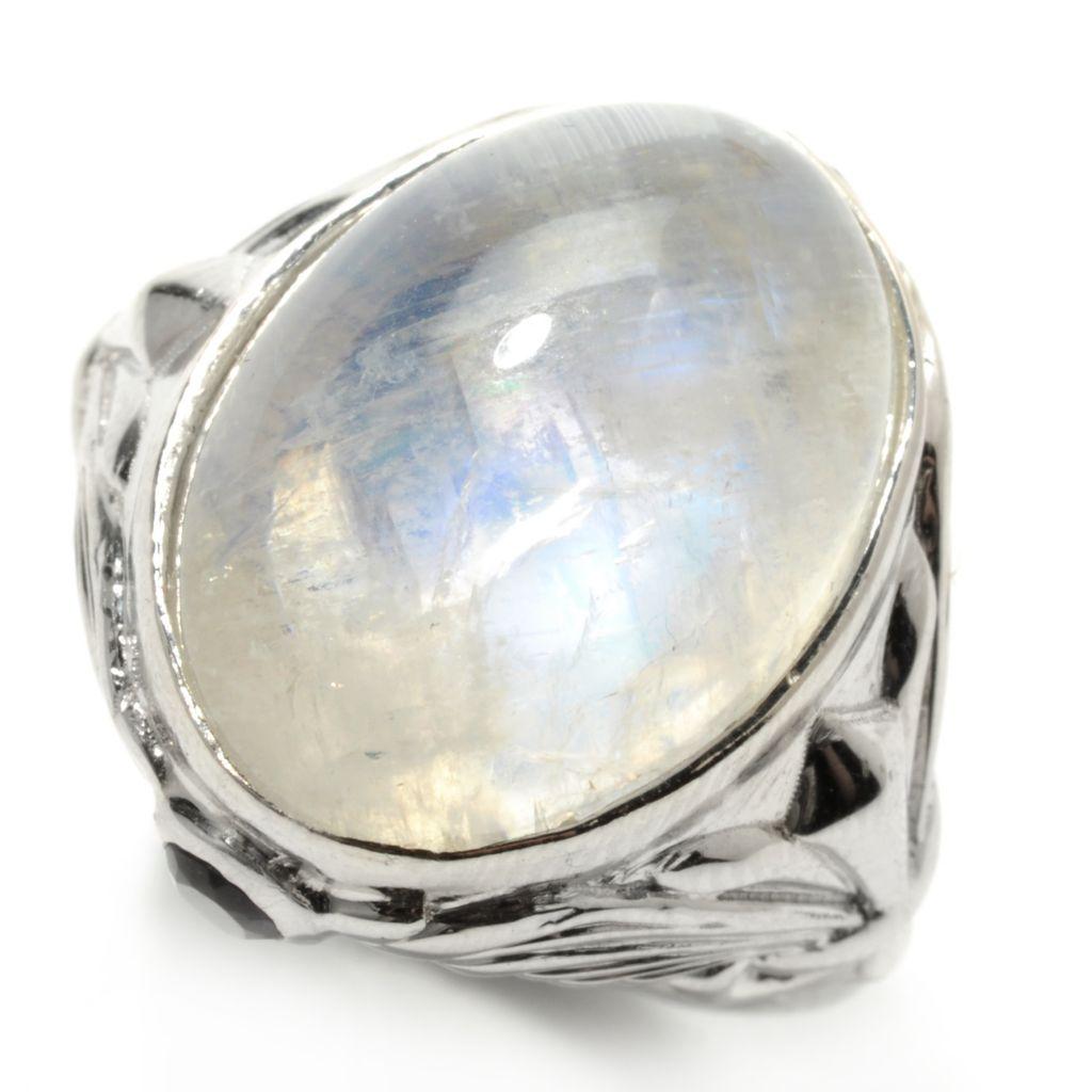 132-449 - Dallas Prince Sterling Silver 18 x 13mm Oval Rainbow Moonstone & Amethyst Ring