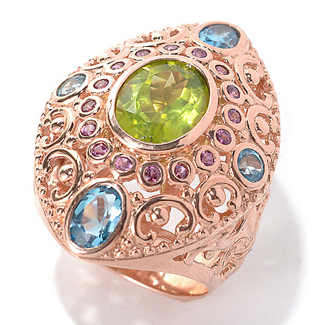 132-450 - Dallas Prince Designs 4.00ctw Peridot, Rhodolite & Swiss Blue Topaz Domed Marquise Ring
